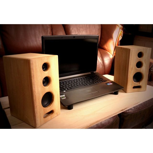 製低音強化3 吋原木音箱書架喇叭音箱3 吋3 音路重低音書架喇叭原木實木非BOSE JBL