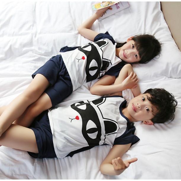 純棉兒童睡衣可愛卡通短袖男孩女大童透氣棉質睡衣兩件套