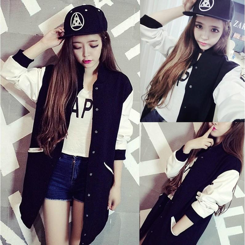 不用等 價韓國2016  款大 修身顯瘦學院風黑白拼接中長款長袖薄款夾克棒球服外套