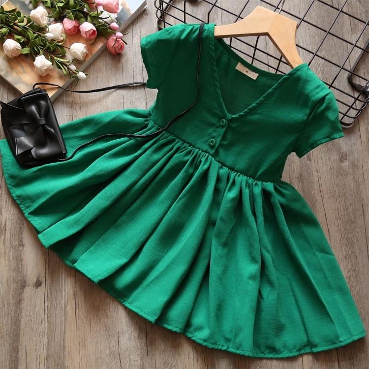 A9212 夏款女童前後兩面穿裙子兒童公主裙純色V 領大連衣裙 洋裝紅色、綠色
