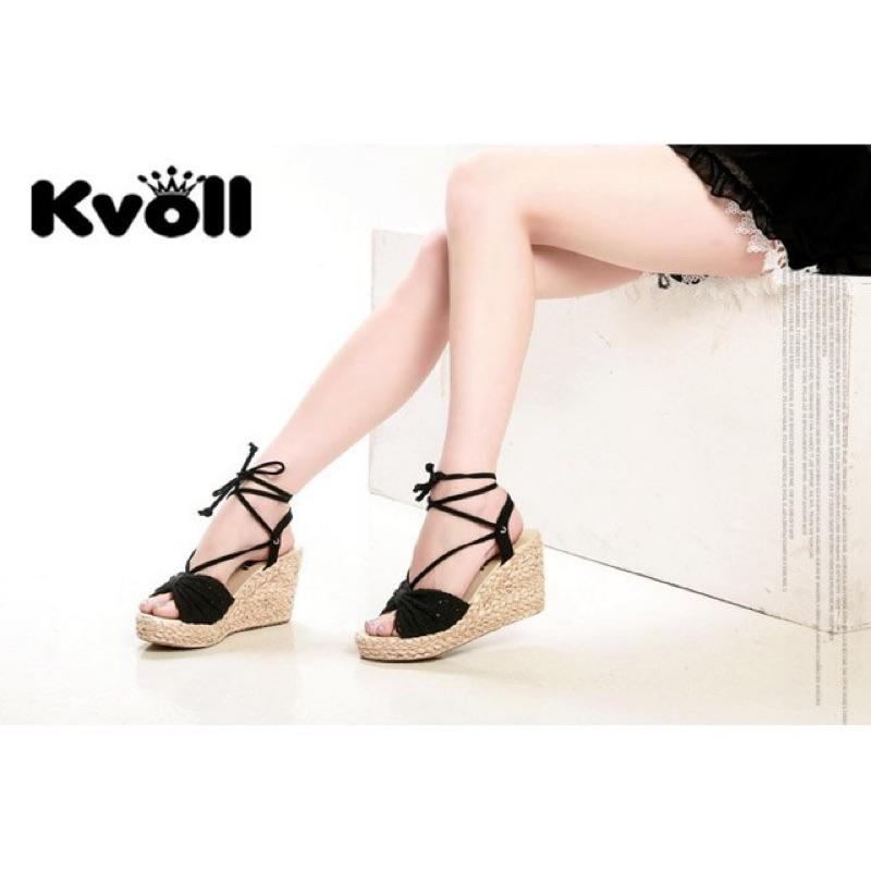 里琪Ni kiyo 韓國版春夏甜美鏤空布蕾絲綁帶草編織楔型女鞋咖啡色40 號24 5 或3