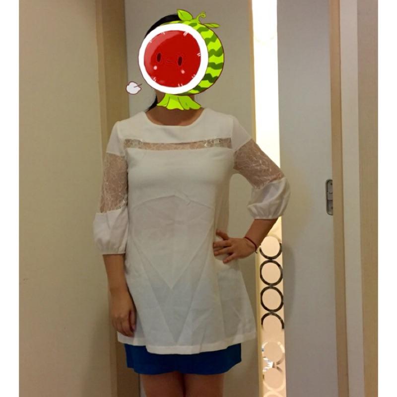 白色7 分袖中蕾絲簍空長上衣(洋裝、孕婦裝)