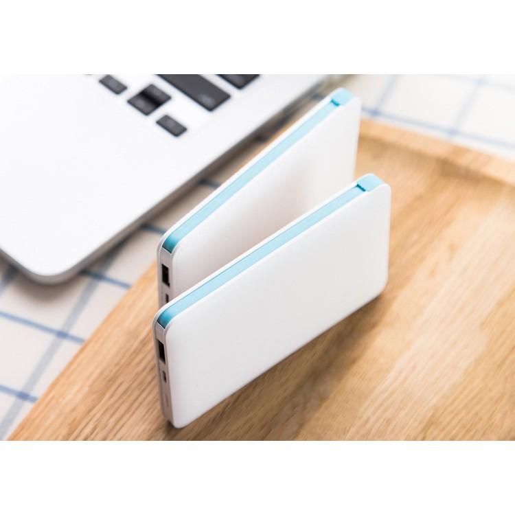 雙線頭卡片移動電源5000 毫安超薄聚合物行動電源高容量超薄超輕量行動電源