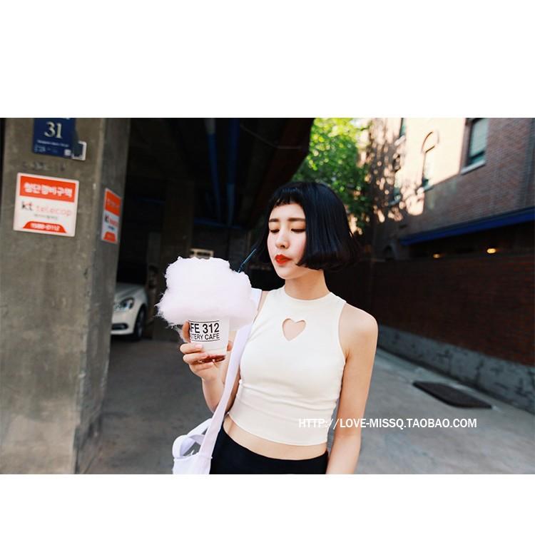 2016 原宿風性感鏤空愛心修身短款露臍打底針織吊帶背心女無袖上衣