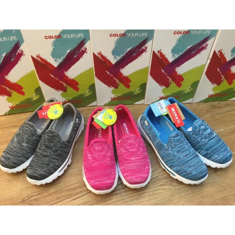 SNAIL 蝸牛懶人鞋亮彩混色織法休閒平底健走鞋 鞋休閒鞋Skechers 款記憶舒適一腳
