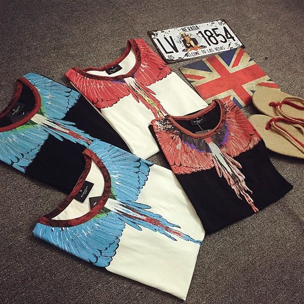 黑 街頭走秀款彩色水滴翅膀羽毛男女款短袖情侶T 恤
