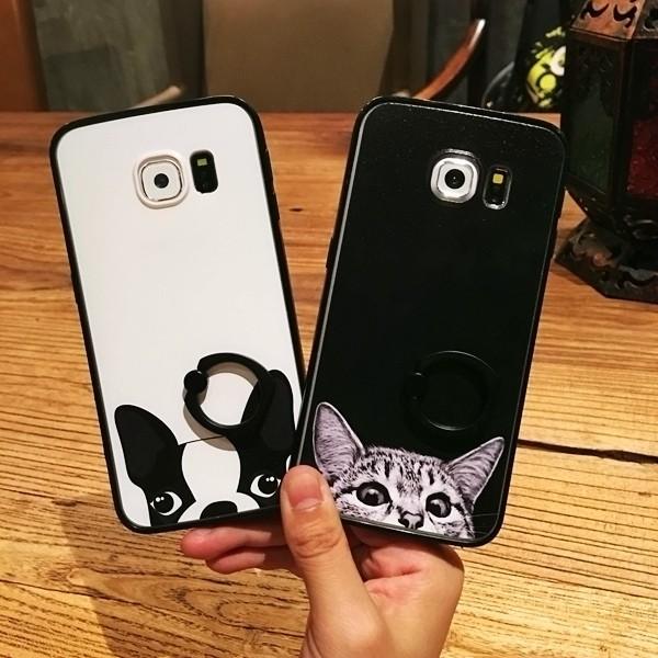 三星iphone 萌狗萌貓指環支架扣軟殼矽膠手機殼NOTE3 NOTE4 NOTE5 S5