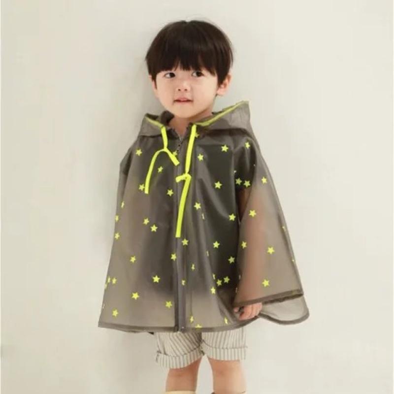 小雨漫步星星半透明斗蓬兒童小孩男女雨衣四款