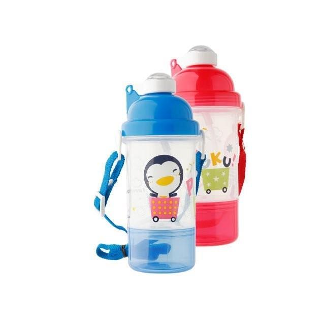 愛嬰寶2館 PUKU  藍色企鵝 雙層水壺 攜帶式水壺 外出水壺 ~350 CC ~P1