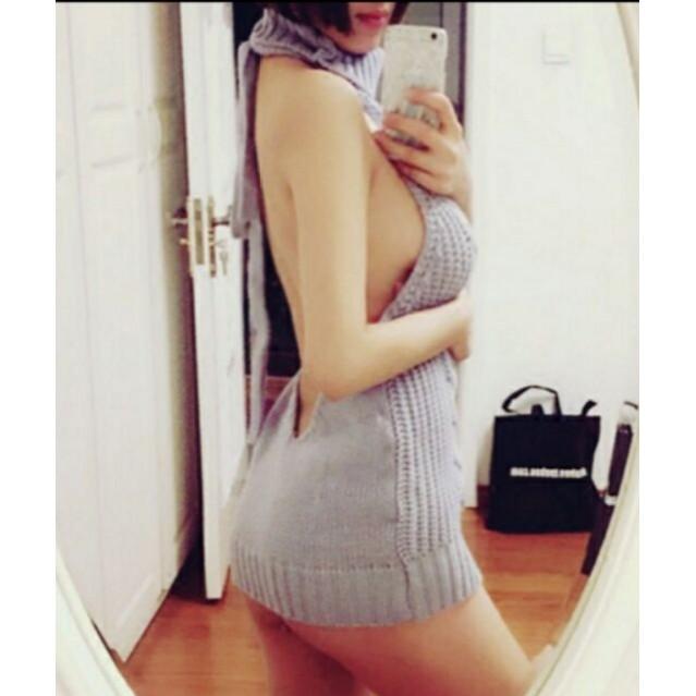 4 色 日韓 裸背高領毛衣兩穿編織毛衣H 口工動漫御姐開胸上衣情趣性感情侶高領露背毛衣