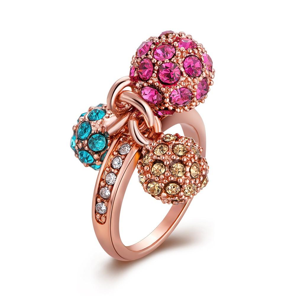 爆款炫彩奧地利水晶球戒指 18K 鑲鑽 手飾