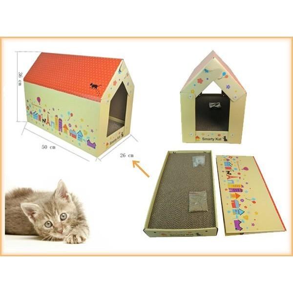 旺旺來~無法超取~~Smarty Kat ~紙質貓抓板∕ 遊戲屋內附貓薄荷可磨爪抓抓又可躲