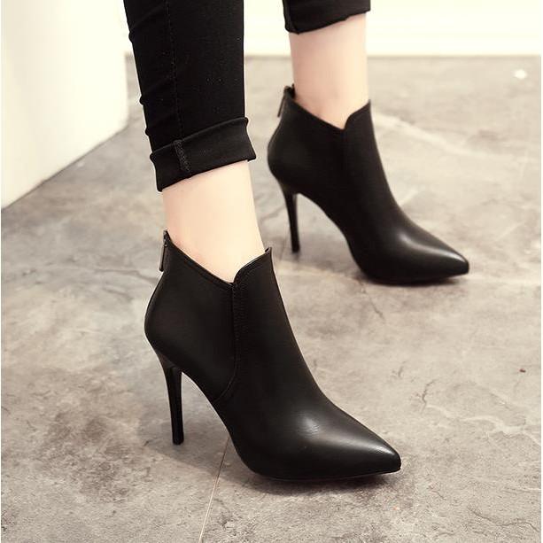 杉杉小舖尖頭高跟棉靴子簡約細跟短靴踝靴後拉鏈 女鞋馬丁靴短靴裸靴膠粘鞋後拉鏈雨鞋尖頭鞋單鞋