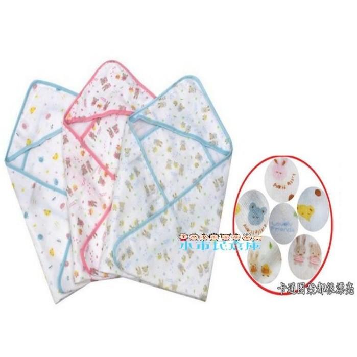 小市民倉庫全棉四層紗布嬰兒包巾寶寶包被抱毯大浴巾空調被帶帽浴巾小70cmx70cm 2 色