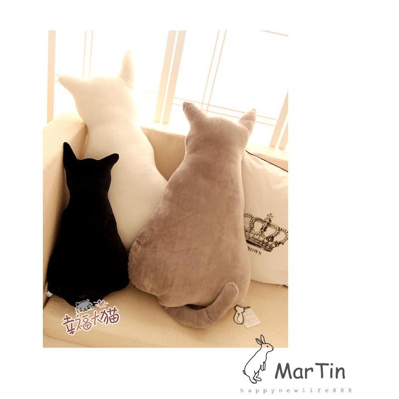 可代客 包裝剪影貓咪靠墊背影貓抱枕毛絨貓倒影靠枕生日 午安枕貓咪抱枕療癒系