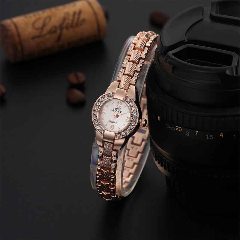 2016 年 豪華玫瑰金腕錶 手鍊手錶女性優雅水鑽石英表