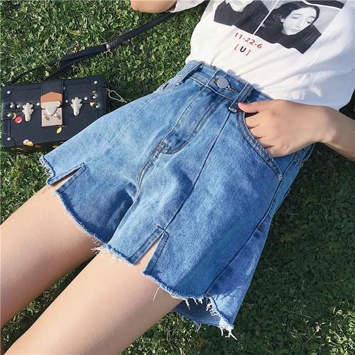 港味chic 百搭藍色高腰毛邊闊腿短褲寬鬆學生牛仔短褲 熱褲寬褲毛邊短褲女