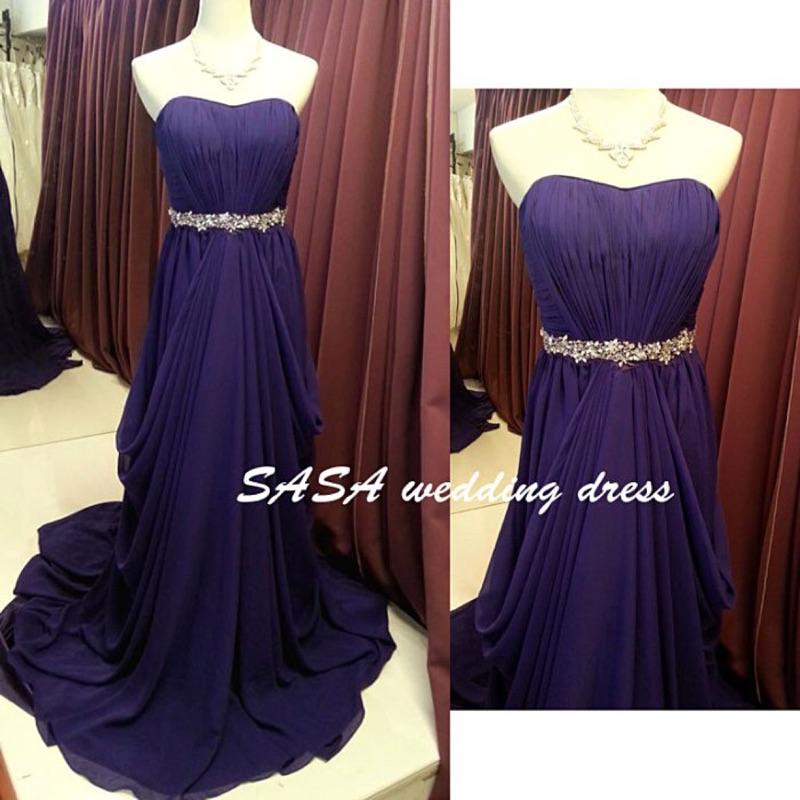 Sasa 禮服愛心胸雪紡拖尾禮服深紫色