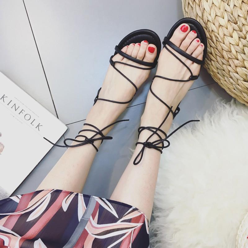 涼鞋女夏 隨意腳環綁帶女式低跟羅馬風格平底涼鞋女潮