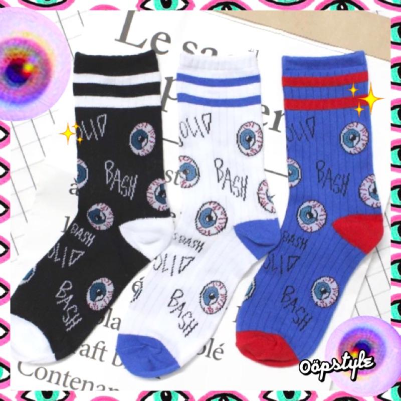 0 öpstyle 買③贈①眼球線條襪長襪美式條紋撞色拼色潮流 日系原宿中長襪情侶