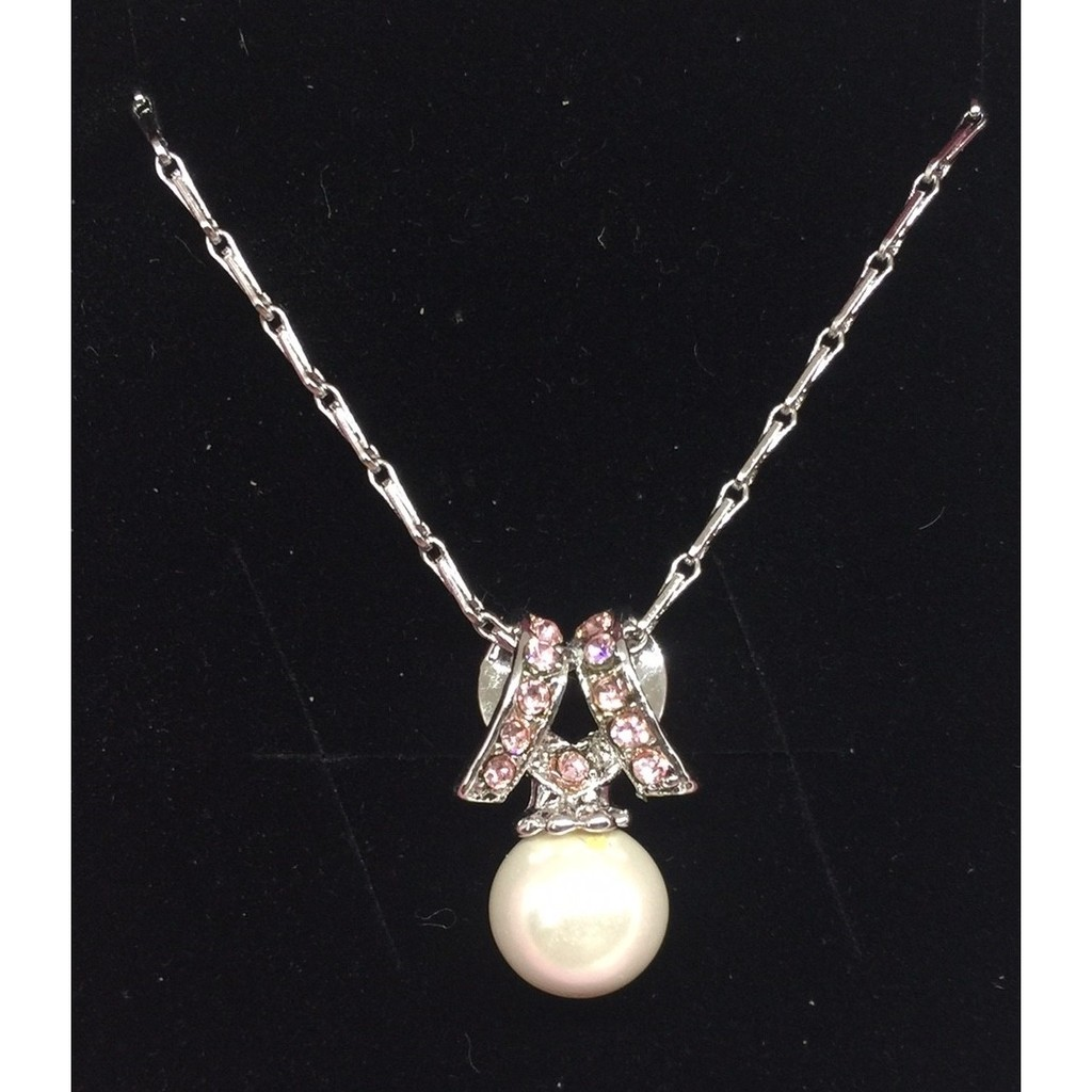 氣質名媛 珍珠粉鑽鑲鑽碎鑽 精緻項鍊