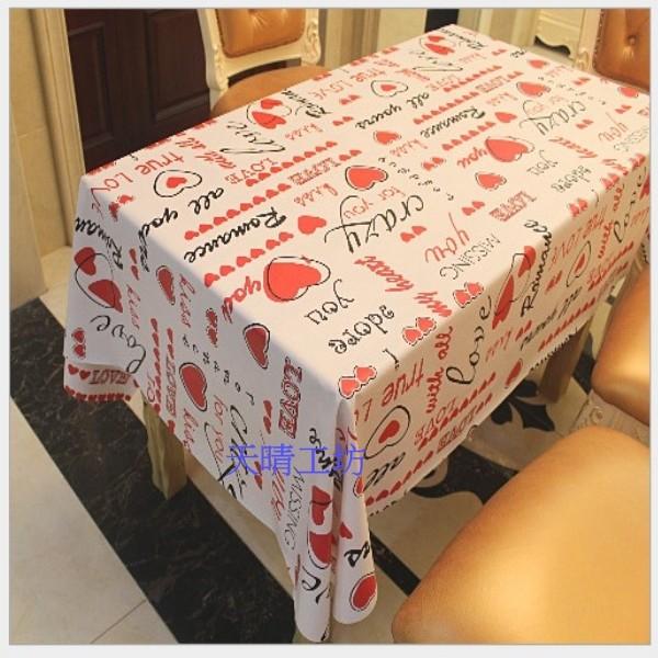 天晴工坊心心相印桌巾高檔長方形桌布防水防油pvc 耐高溫137x183