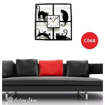 趣味貓藝術時鐘掛鐘壁鐘 靜音時鐘  掛鐘