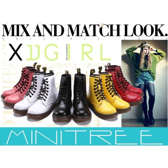 MiniTree ~ ~真皮舒適好質量 復古透明牛筋底馬丁靴機車靴情侶短靴軍靴騎士靴6 色