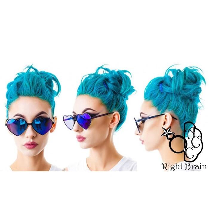 Right Brain Lady Gaga 同款復古沙灘海邊度假風愛心藍色反光鏡片細節滿分