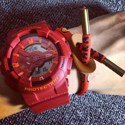 美國潮牌TYAKASHA 紅色微笑臉鞋帶牛皮扣正能量情侶款手鍊卡通手繩型男 情侶款生日