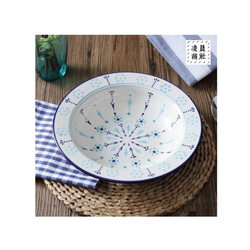 凌晨商社波蘭陶 陶瓷拍照道具手繪藍色碎花9 寸西餐盤義大利麵盤湯盤圓盤深盤大容量