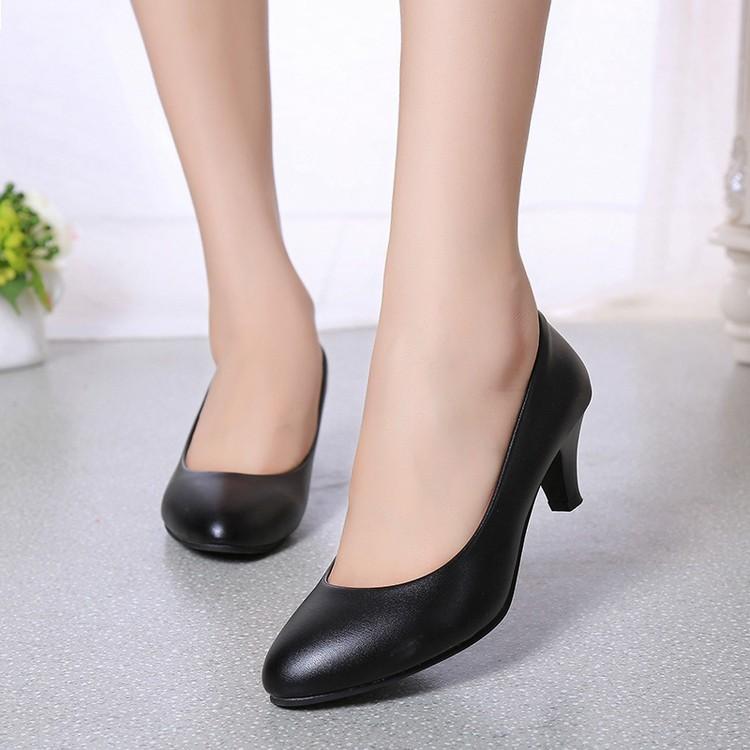 春夏新品工作鞋黑色職業單鞋低跟皮鞋女中跟工裝正裝面試空姐女鞋