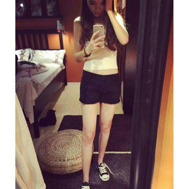 牛仔短褲低腰 白色黑色牛仔短褲女 毛邊破洞熱褲薄款