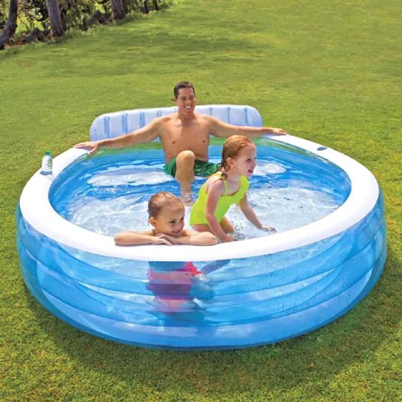 INTEX 三層充氣泳池兒童戲水池靠背椅置物杯架家庭充氣泳池夏天消暑安全衛生親子戶外