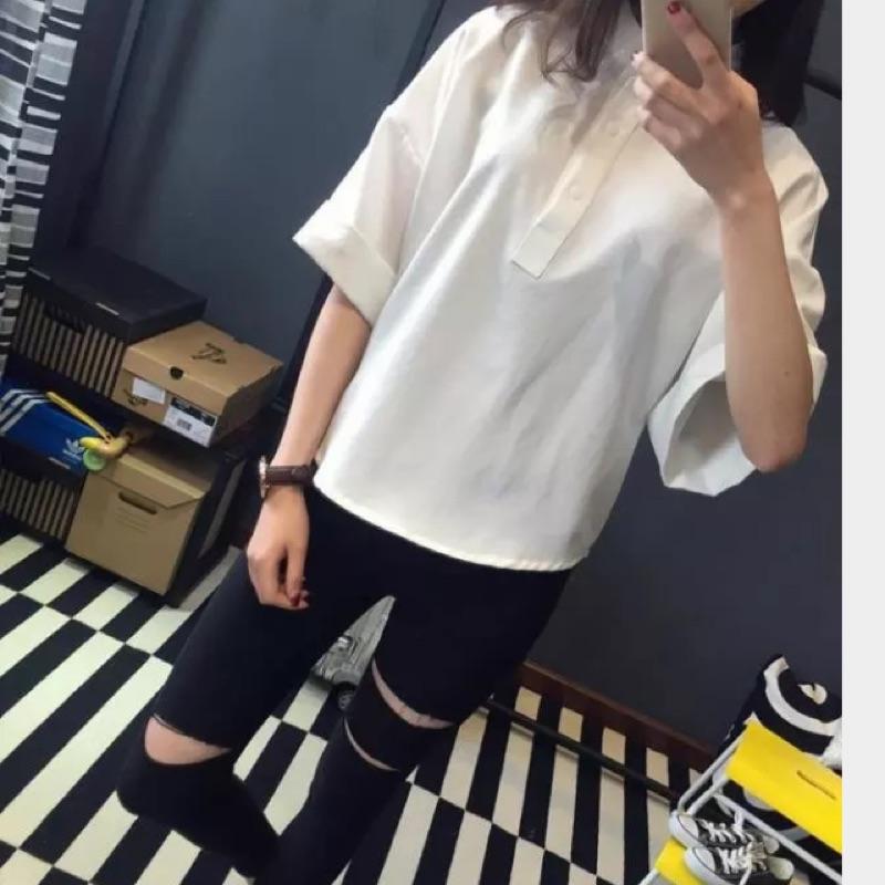 白襯衫女夏短袖韓範學生簡約寬鬆顯瘦復古襯衣班服夏裝