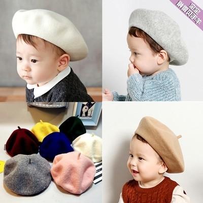 兒童韓國 天貝雷帽寶寶英倫畫家帽蓓蕾純羊毛線帽子女 潮帽