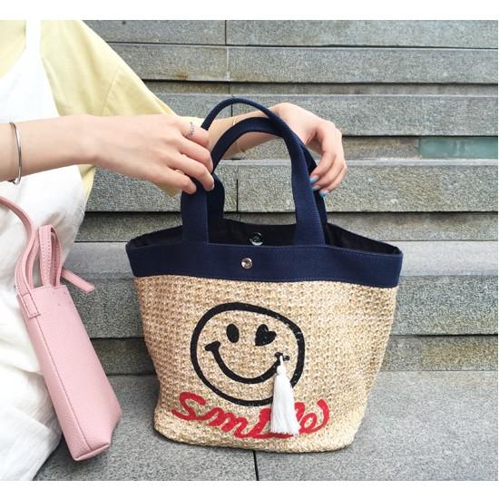 韓國品牌夏秋 微笑笑臉流蘇吊飾草編藤編手提包草包海灘包沙灘包