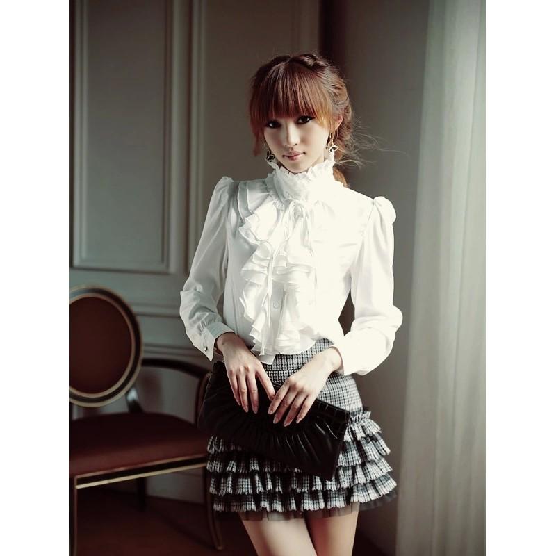 女式襯衫長袖雪紡衫大碼白襯衫立領花邊宮廷衫打底女