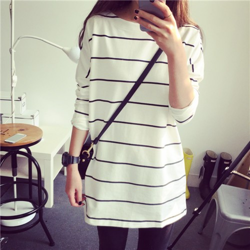 Ying Fashion ☘條紋長袖大碼寬鬆顯瘦百搭上衣服長版T 恤☘