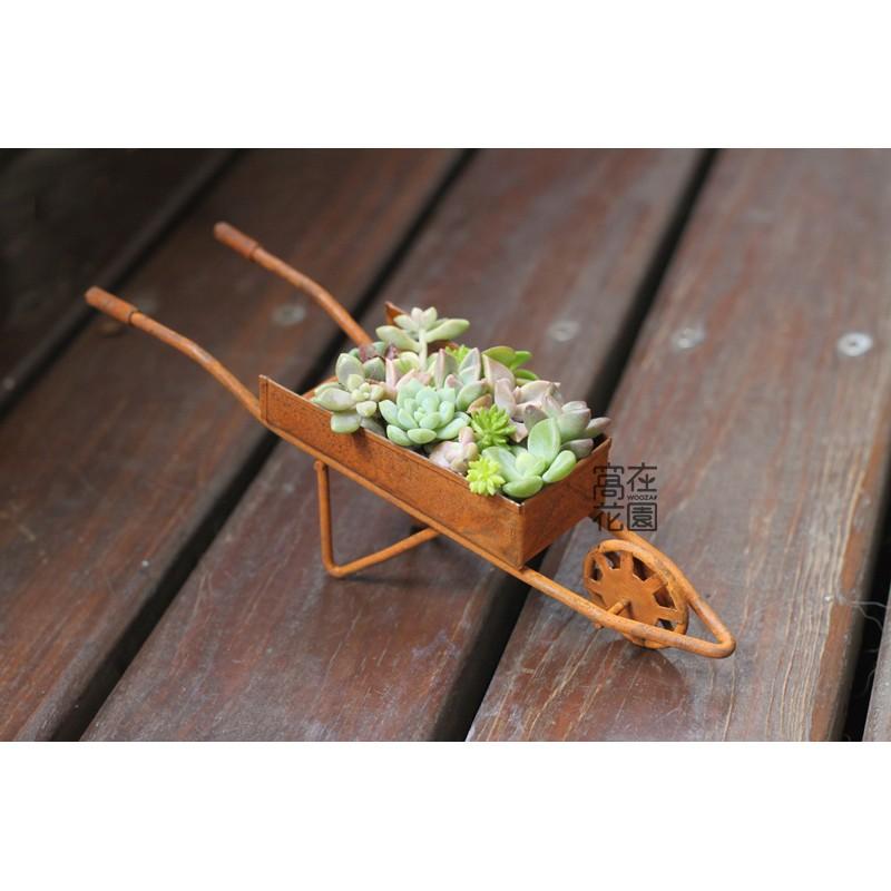 ~窩在花園~ 日式鄉村鐵藝小推車ZAKKA 居家裝飾多肉工藝擺飾