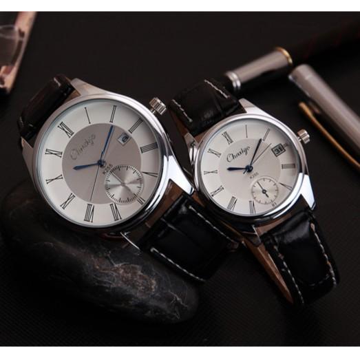 男士情侶 潮流帶歷藍光玻璃表男式真皮帶防水手錶潮腕錶