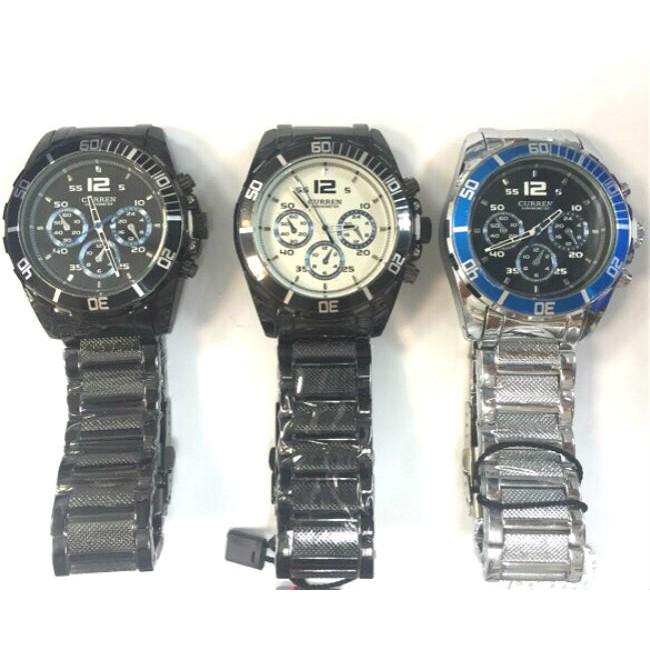 ~S C ~韓風卡瑞恩CURREN 正品大錶徑面潮流 仿三眼六針賽車碼錶鋼帶潮人腕錶石英錶