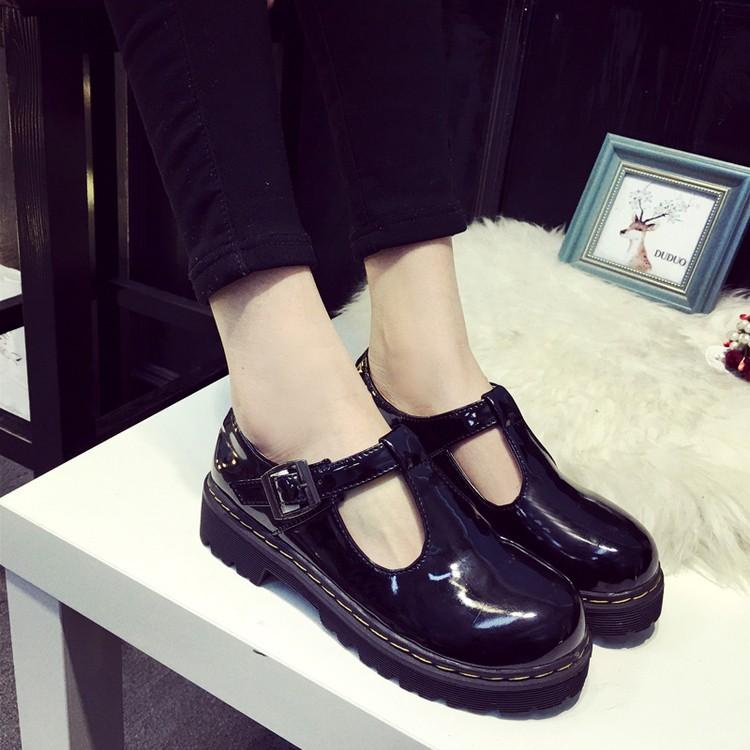 亮皮日系圓頭娃娃鞋厚底單鞋甜美平底鞋英倫小皮鞋