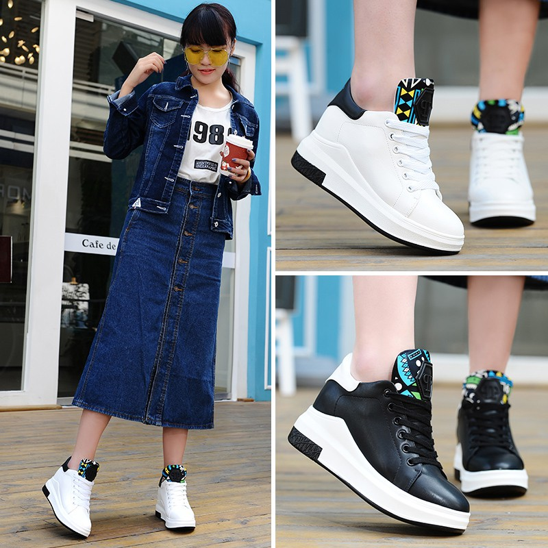 ~小白鞋~~增高鞋~~女鞋系列~~2 色~ 內增高2 跟高5CM 休閒鞋 百搭舒適顯高顯腿