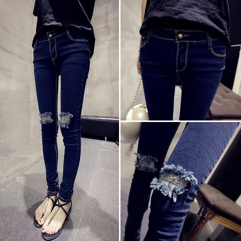 Misa Shop 夏裝高腰深色破洞牛仔褲顯瘦修身小腳鉛筆褲學生彈力長褲