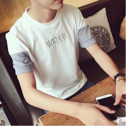 魅力 專營店 男裝 撞色T 恤圓領修身小清新短袖T 恤衫青少年男學生休閒潮POLO 衫短袖