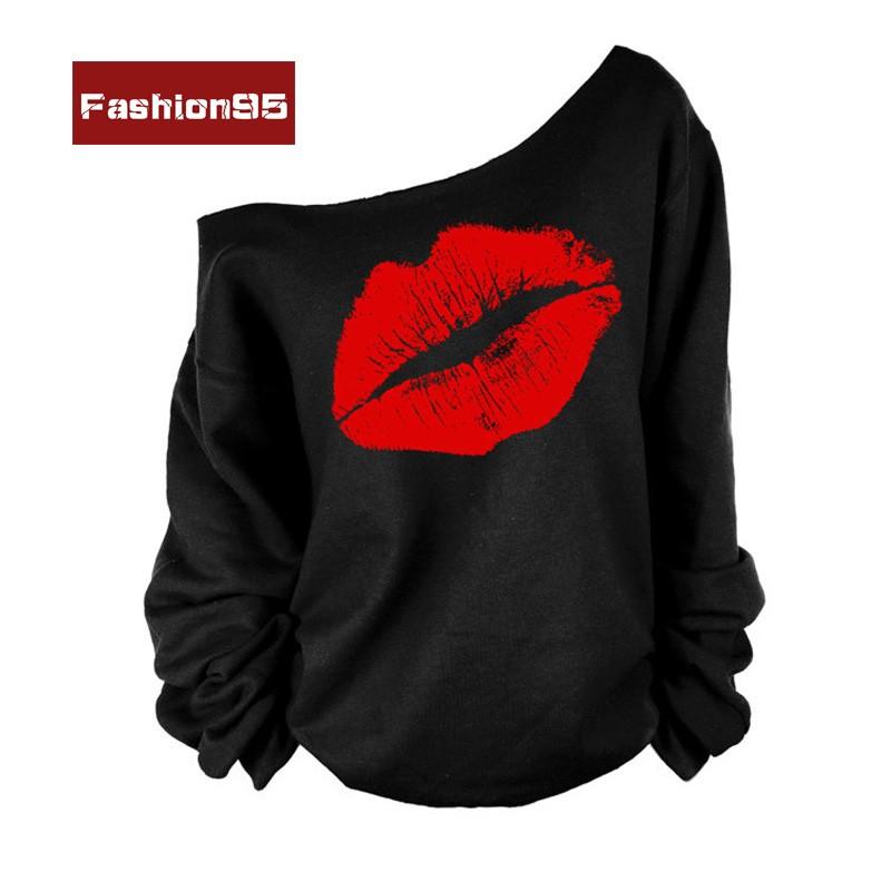 _ 女性長袖衛衣紅唇大嘴唇印花斜肩T 恤衫上衣
