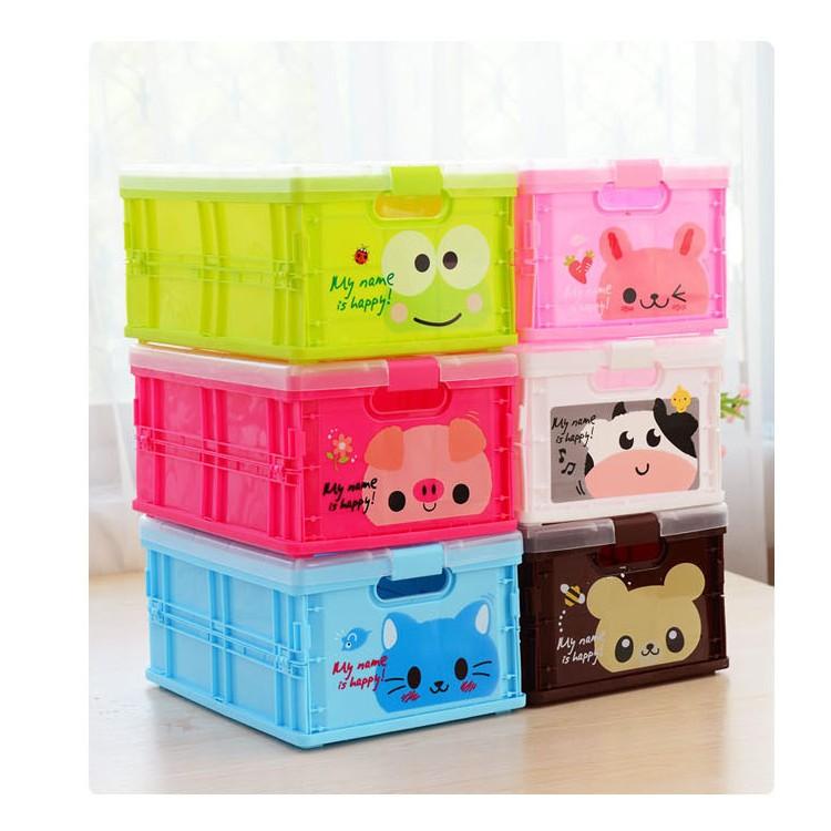 大款~可愛動物折疊收納盒~有透明蓋可折疊好收納收納籃收納箱玩具籃置物箱儲物籃猴子大象貓咪長
