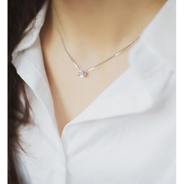 925 純銀單鑽項鍊韓國精緻 水鑽鎖骨鏈女銀飾 配飾銀鏈子