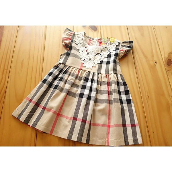 16006 中小童5 17 號學院風格紋蕾絲領洋裝